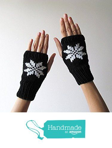 Hand Knit Fingerless Gloves in Black - Embroidered Snowflake - Seamless Knit Gloves - Wool Blend - Made to Order from NaryaBoutique https://www.amazon.com/dp/B01LG09AKI/ref=hnd_sw_r_pi_dp_KfS.xbG5K3GZQ #handmadeatamazon