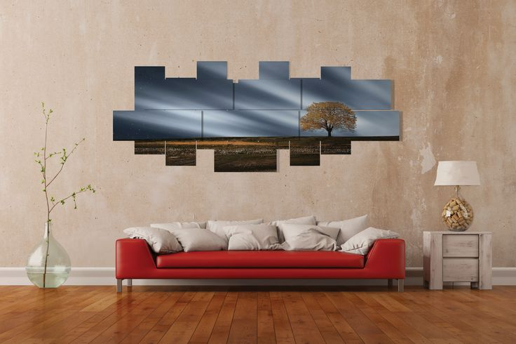 Extra large wall art -  multipanel 3D - 275x106 cm - 14 pieces. Printed in photo quality on laminated paper. MADE IN ITALY.  #quadri #quadri3D #design #wallart #multipanel #house