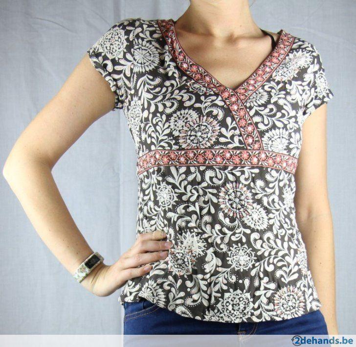 Bruin-oranje blouse van New Look - Maat 38