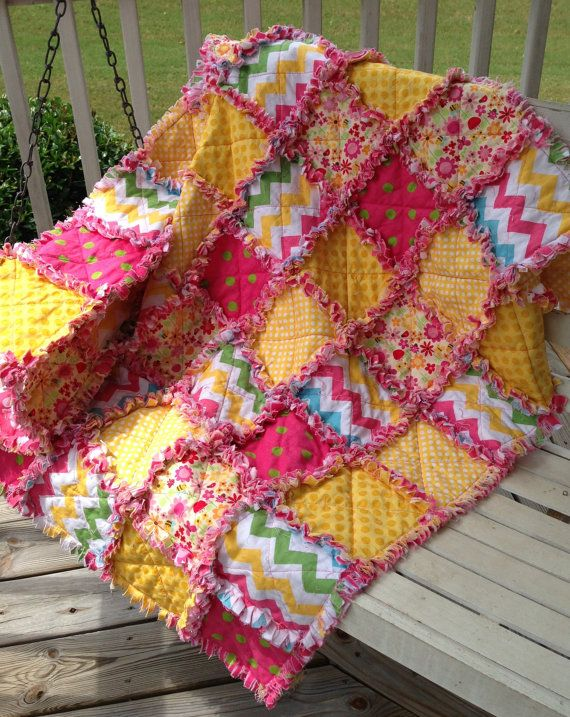 Rag Quilt Small Baby Crib Size Custom Made To by funkybugboutique, $95.00