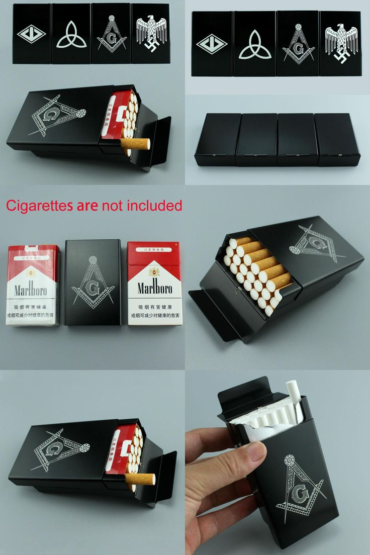 [Visit to Buy] Gangland Masonic Free-Mason Yamaguchi-gumi Aluminum Alloy Smoking Gift For Man 20 Sticks Cigarettes Case Box Cigarette Holder  #Advertisement