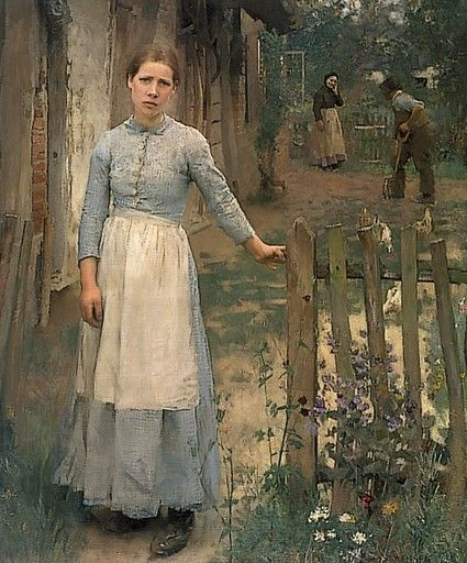 A moment frozen in time.  I would like to wrap my arm around that girl's shoulders and invite her to put her feet up for a minute.  - The Girl at the Gate (1889) by George Clausen