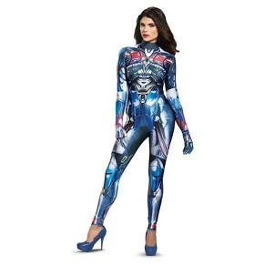 Become the leader of the Autobots in this Transformers Optimus Prime Female Bodysuit Adult Costume. Includes (1) full bodysuit. Does not include shoes. This is an officially licensed Transformers costume.