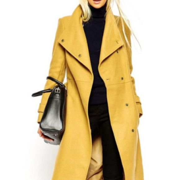Yellow Trench Coat NWT long yellow trench coat, size small, yellow with button snap closure. Gorgeous Jackets & Coats Trench Coats