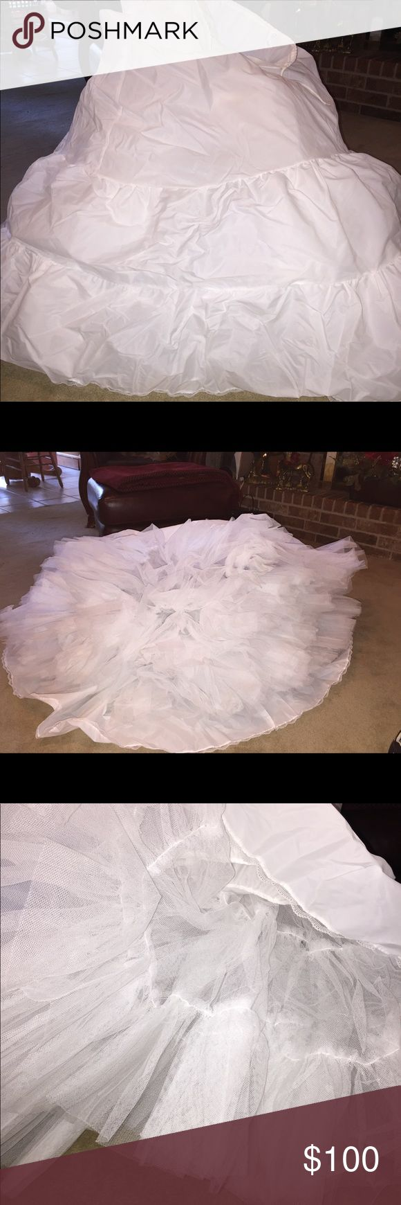 48 hr SALE!! prom quinceanera bridal 16 Petticoat Full long white tulle petticoat slip for bride wedding dress bridesmaid or formal attire undergarment prom debutant quince 15 sweet sixteen 16.  Has drawstring closure. Skirts