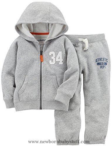Baby Boy Clothes Carter's Baby Boys' Toddler Fleece Hoody and Pant Set, Grey, 5T