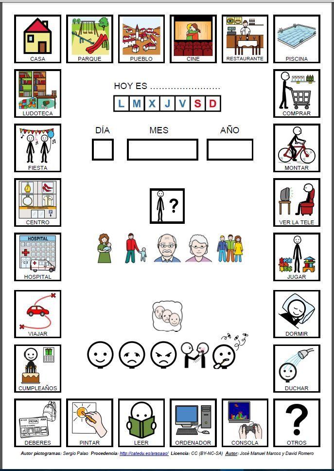 Agenda con pictogramas de ARASAAC sobre actividades diarias realizadas en casa..