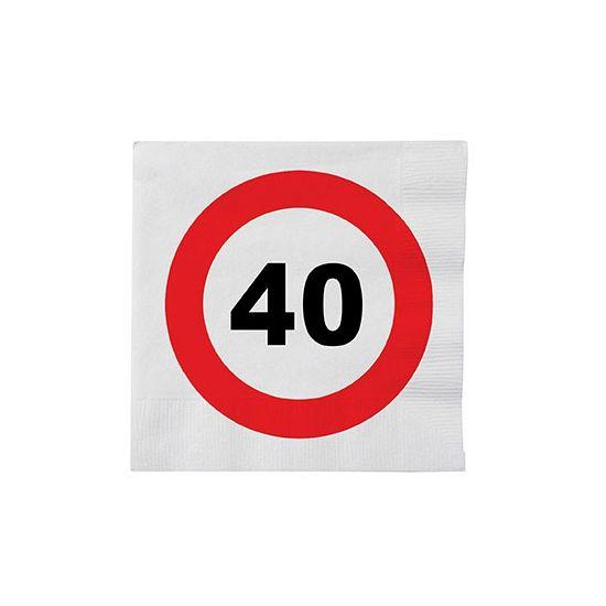 Stopbord servetten 40 jaar. Deze papieren servetten met een stopbord teken en het cijfer 40 hebben een formaat van ongeveer 33 x 33 cm en zijn verpakt per 16 stuks.