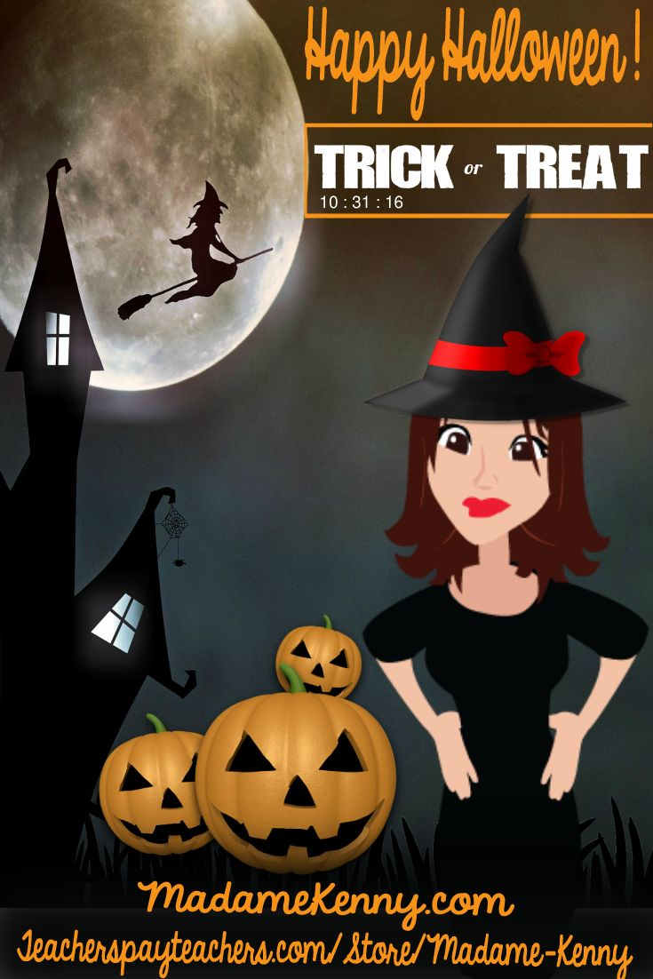 Happy Halloween from MadameKenny.com http://www.madamekenny.com/ https://www.teacherspayteachers.com/Store/Madame-Kenny