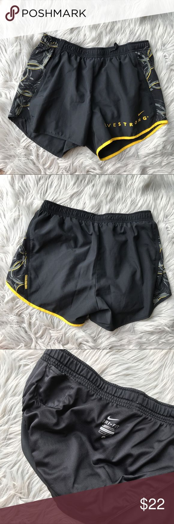Nike Livestrong Dri Fit Shorts Excellent conditions only worn once. Build in trousers with small pocket at side. Adjustable string Nike Shorts