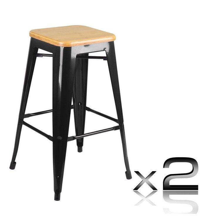 2 X Tolix Kitchen Breakfast Bar Stool Metal Steel Chair Wooden Seat Black