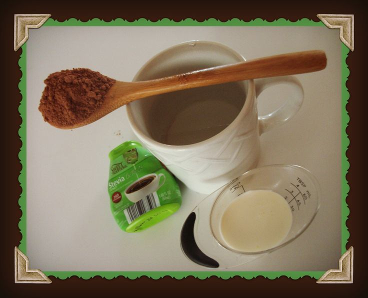 Hot chocolate hot water in a regular sized mug, filled 3/4 the way full 1 Tbs of cocoa powder (only 10 calories!) 2 Tbs of heavy cream 3 drops of liquid stevia. (You can add more if you don't think it's sweet enough.)