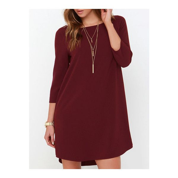 SheIn(sheinside) Wine Red Long Sleeve Casual Dress ($15) ❤ liked on Polyvore featuring dresses, red, short dresses, wine dress, shift dress, stretch dress and wine red dress