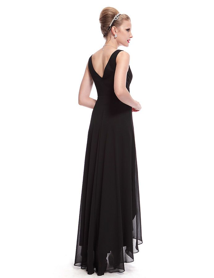 26a968a3d62 Ever-Pretty V-Neck High-low Evening Dresses Black Long Bridesmaid Gowns  09983 Evening Dresses High