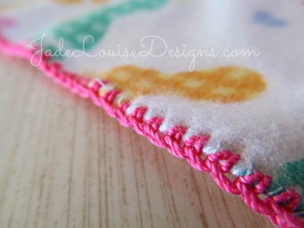 Crochet Edging Tutorial; How to Crochet Baby Burp Cloth, Crocheted Lace Edge.