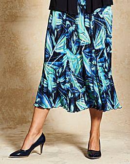Print Plisse Skirt with Godets