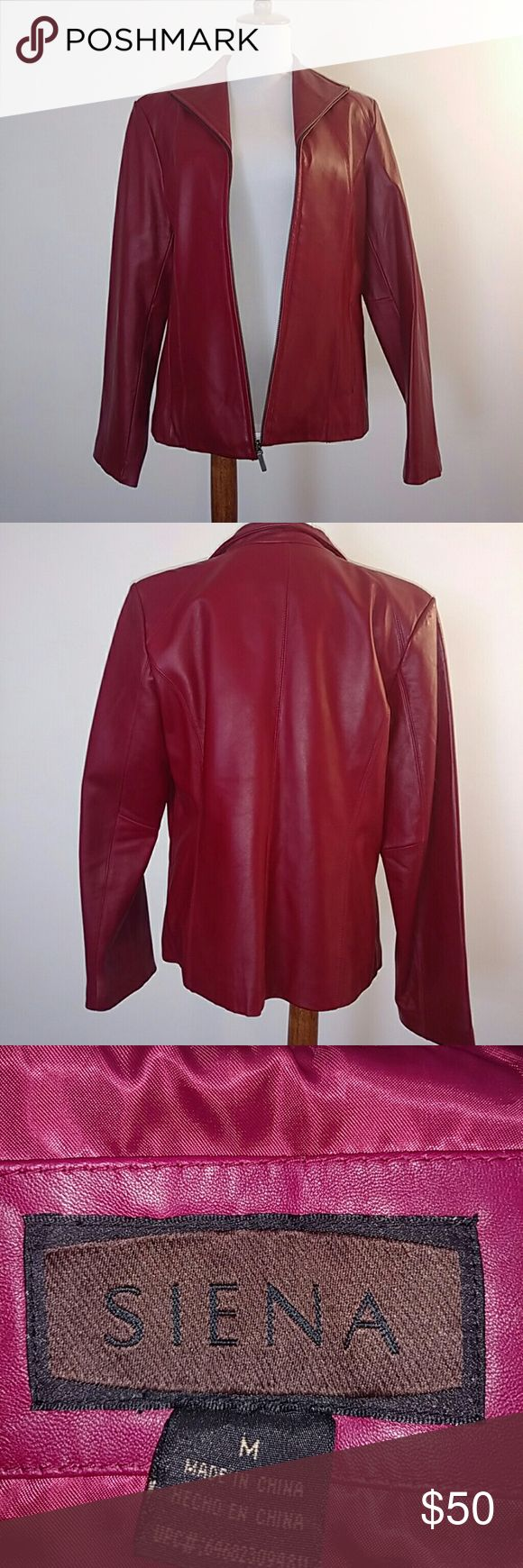 Siena Red Leather Jacket Siena red leather jacket. Worn only a handful of times Siena Studio Jackets & Coats