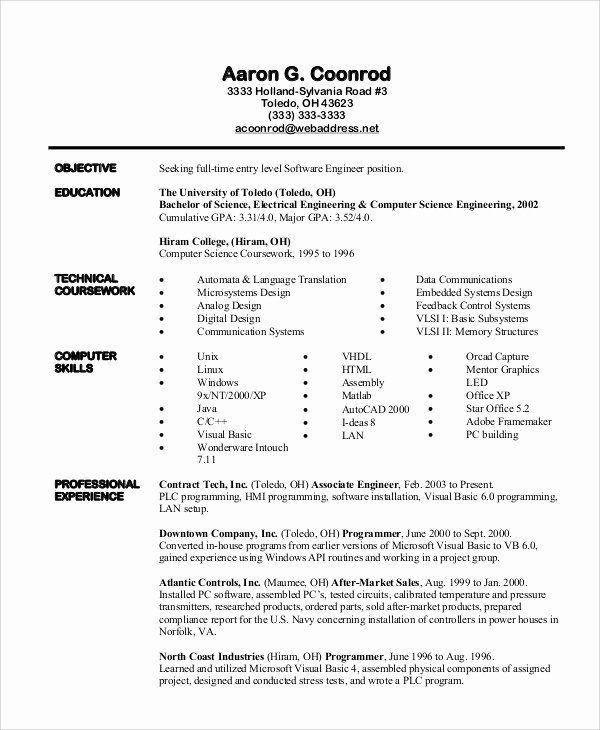 Entry Level Software Developer Resume Lovely 37 Engineering Resume Examples Engineering Resume Resume Examples Software Engineer