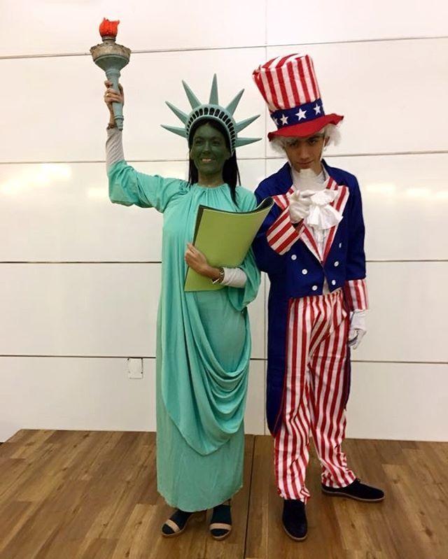Kostüm Idee für Paare selber machen: Freiheitsstatue & Uncle Sam