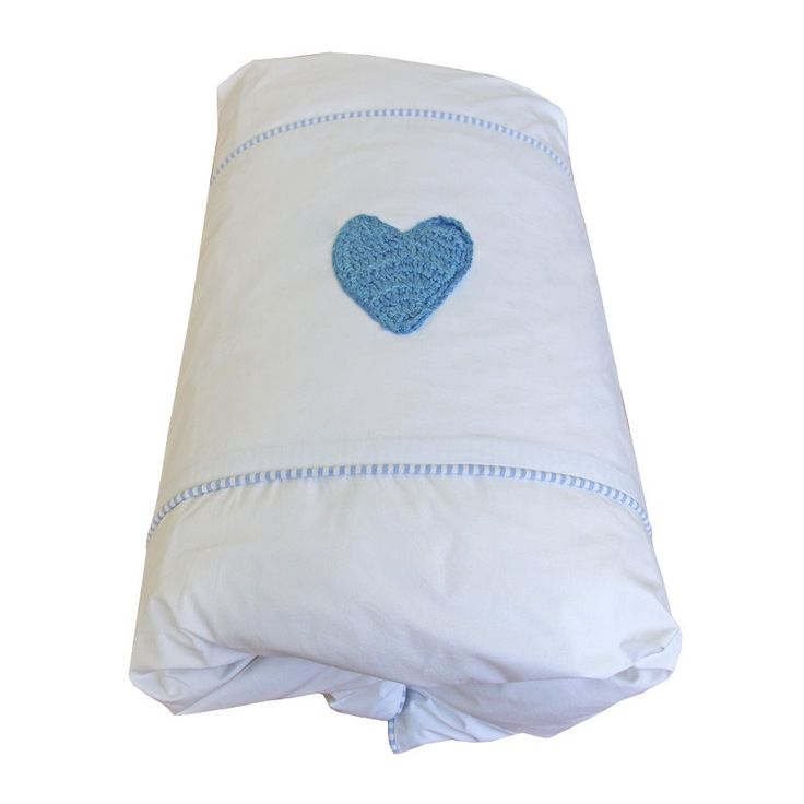 Pinstripe Blue Hand-crocheted Heart Cot Duvet Cover