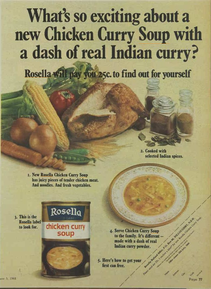 Rosella ad from the late 60's. A spicy chicken curry soup - spiced to please.