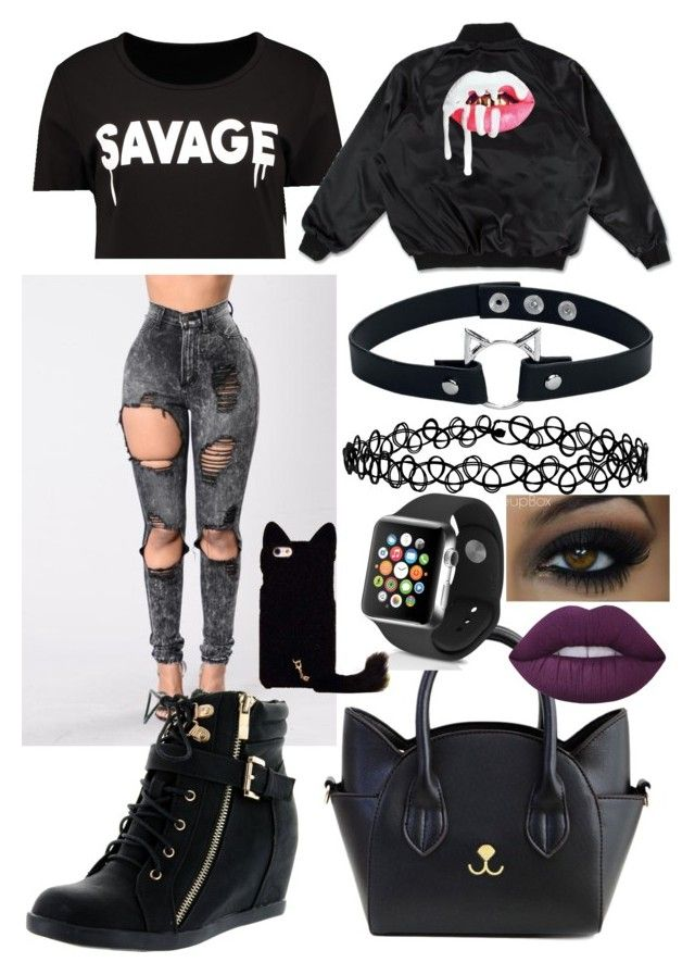 """Instagram:@just_a_weird_emo_girl @jagoda_natali"" by annalisahronn on Polyvore featuring Top Moda, Accessorize, Lime Crime and Apple"
