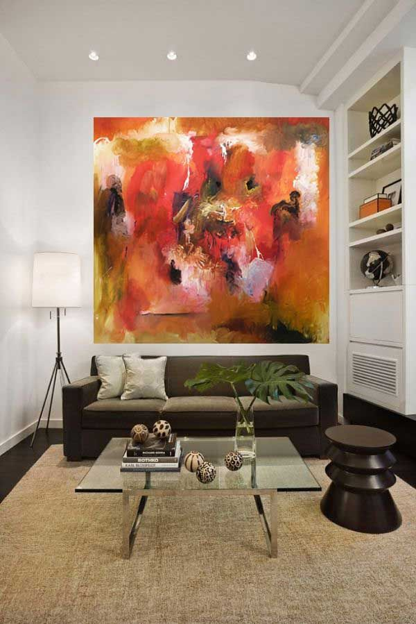 Title: Abstract Bali Orange.  Medium : Acryllic on canvas Size 150 cm x 150 cm  Price 1250 euro or Rp 15 juta- send on rol. In Bali free delivery on frame. Painter: Emile Snellen van Vollenhoven. Website: www.dutchartist.nl