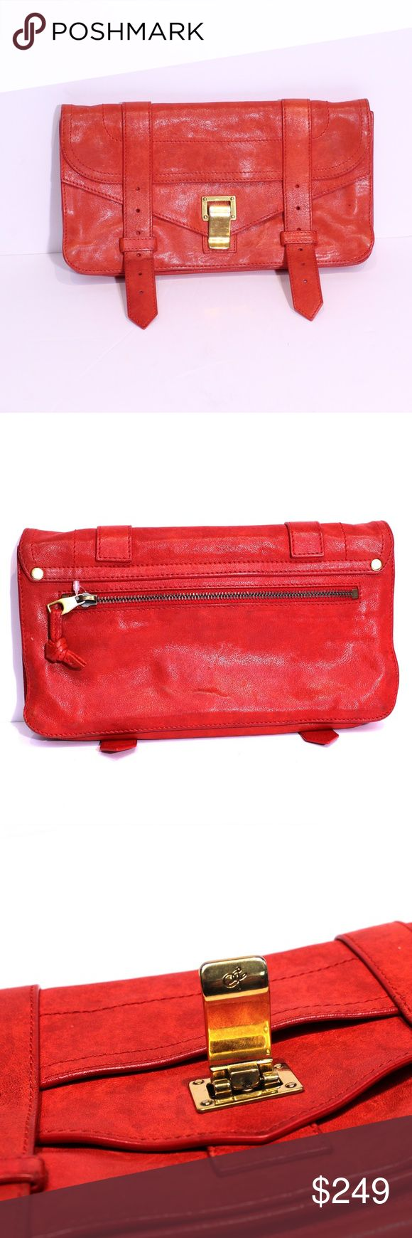 "PROENZA SCHOULER Pochette Red Leather PROENZA SCHOULER PS1 Pochette Red Leather Gold Buckle Clasp Clutch Purse Small  Good condition.  A couple pen marks on the front and back, but no major scuffs or scratches.  Measurements:  Length-10.75"" Height-6"" Depth-3""  MATERIAL Leather body / fabric interior DETAILS Gold tonal hardware Two belt hole punch straps on front Inside compartments Lined One back side zip pocket Flap and hook clasp closure Proenza Schouler Bags Clutches & Wristlets"