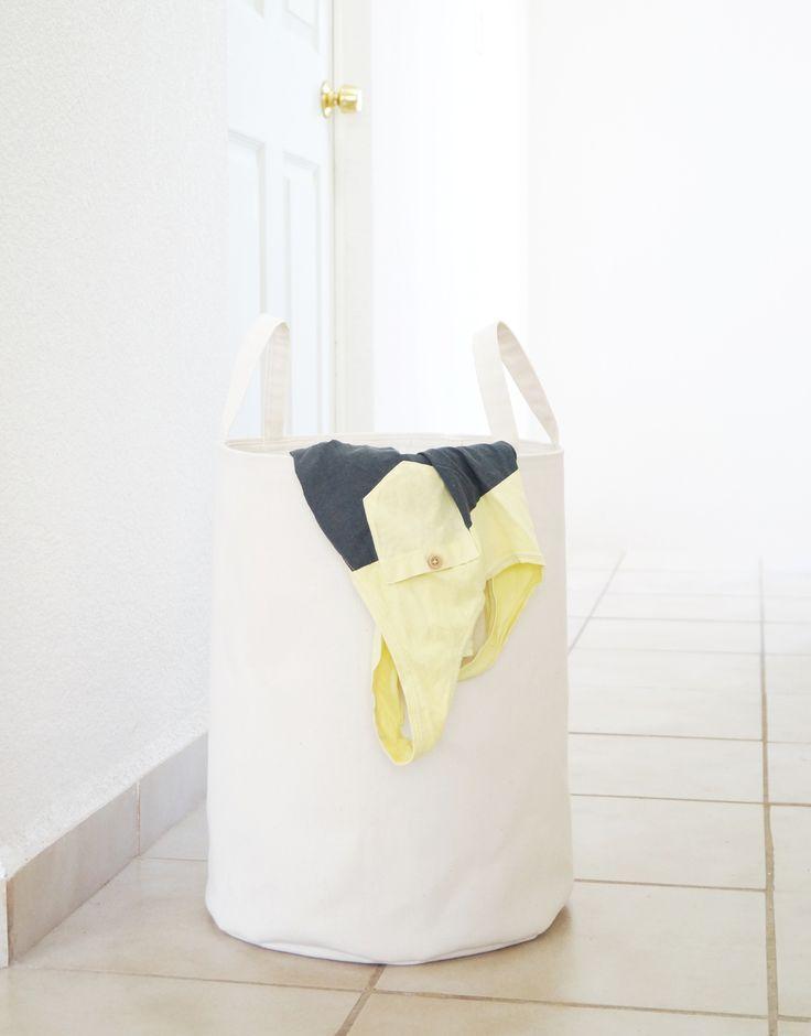Laundry hamper. White, ivory canvas. Toy storage basket. Laundry room decor. Kids room, Baby nursery. Scandinavian home. Interior design. Styling. Handmade Etsy