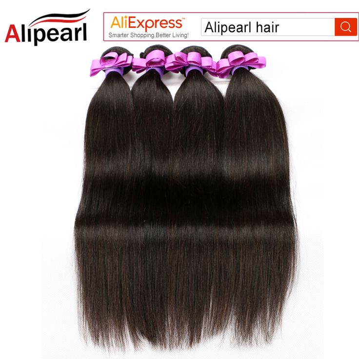 Alipearl Hair Straight Peruvian Virgin Hair Bundles Human Hair Extension 8A Grade Unprocessed Natural Black Color 4 Bundles
