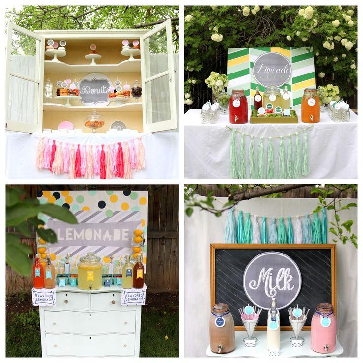 donut bar, limeade bar, lemonade bar and milk bar, sangria bar- all printable files for sale in the Shiny Happy Sprinkles etsy shop