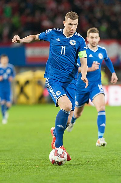 Edin Džeko, playing for the Bosnian national football team in year 2015