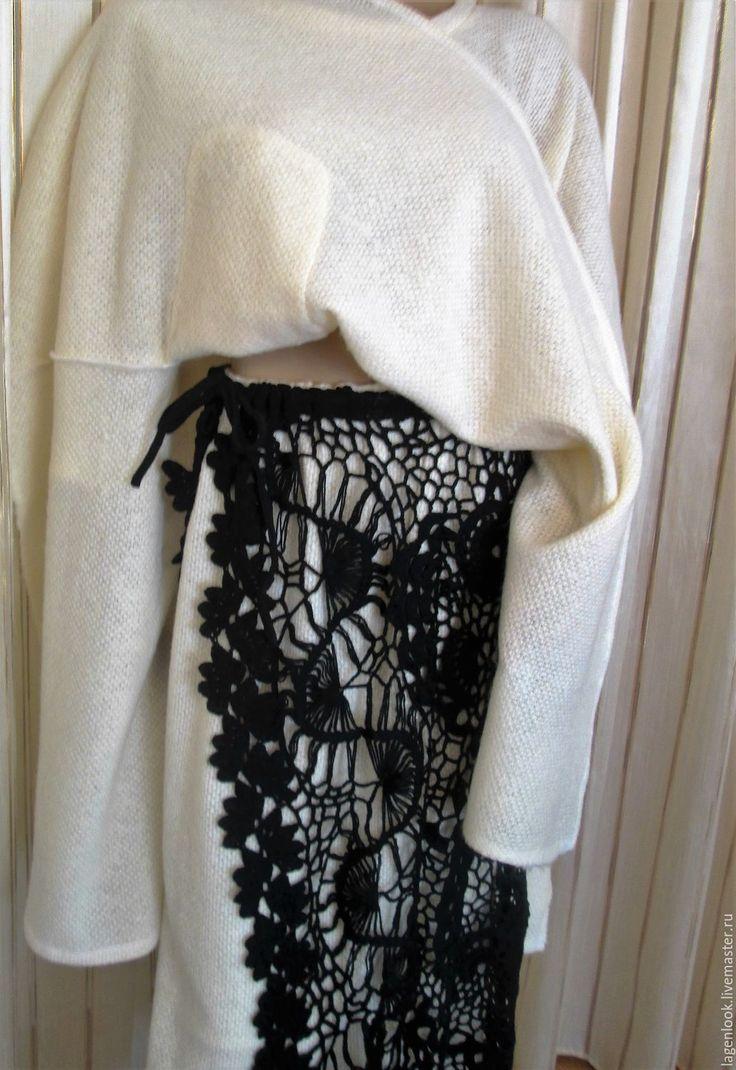 Купить Юбка зимняя кружевная - черный, абстрактный, полушерсть, юбка, юбка длинная, юбка вязаная