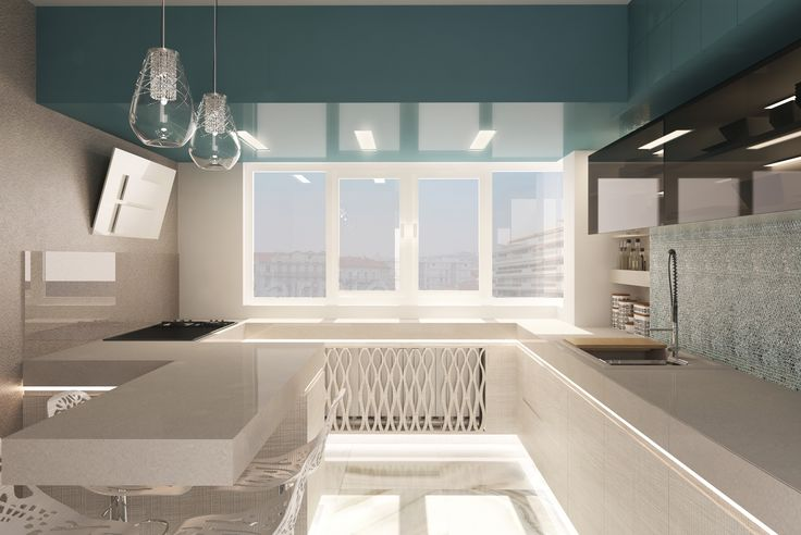 #kitchen #white #spotlights #ambientlights # blue #oven #sink #kitchenshelves #kitchenfurniture #lamps #minimalist #bigwindows #chairs #kitchentable #windows #green