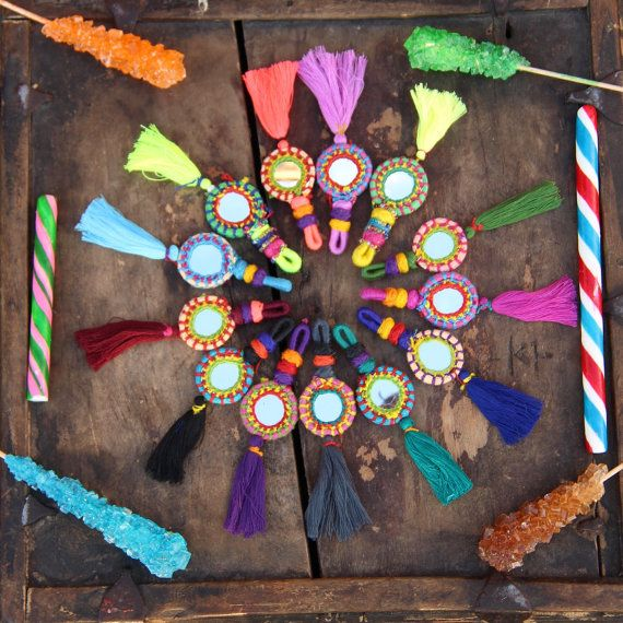 Shorty Tassel Mirror Charms, Swag, Decoration, Keychain, Jewelry Supply, Boho Gypsy Fashion Design, Decorating, Fall Accessory 1 Piece  These