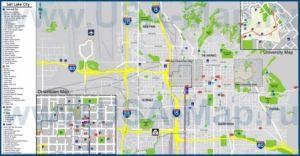 Туристическая карта Солт-Лейк-Сити с отелями, достопримечательностями, ресторанами, барами и магазинами