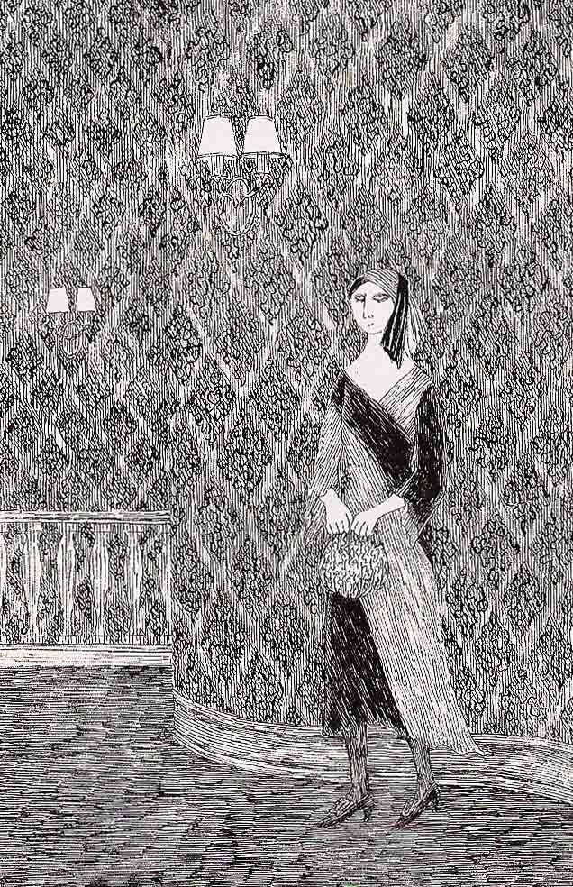 "Edward Gorey.....SO MUCH LIKE THE"" PBS"" MYSTERIES OF LONG-TIME AGO.....THE LADY WOULD SIGH MOURNFULLY AND YOU SUNK DOWN IN YOUR SEAT TO BE STYMIED ......ccp"