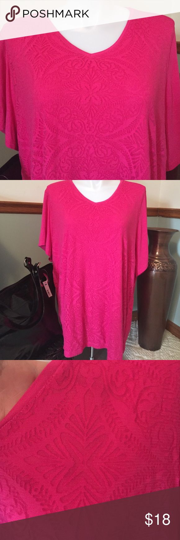 Catherine's pink top 2x 22/24 Very excellent condition pink short sleeve top Catherines Tops