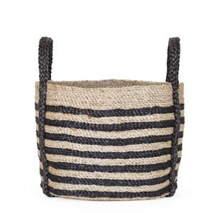 Rimi - stripe - medium  These beautiful jute baskets have been completely handwoven by the team of women working for the Fair Trade programme we partner with in Bangladesh. These talented women combine traditional weaving styles with contemporary designs and using natural materials.      A beautiful timeless piece for those who appreciate natural fibres and handcrafted work. Our baskets are durable, eco-friendly and versatile.