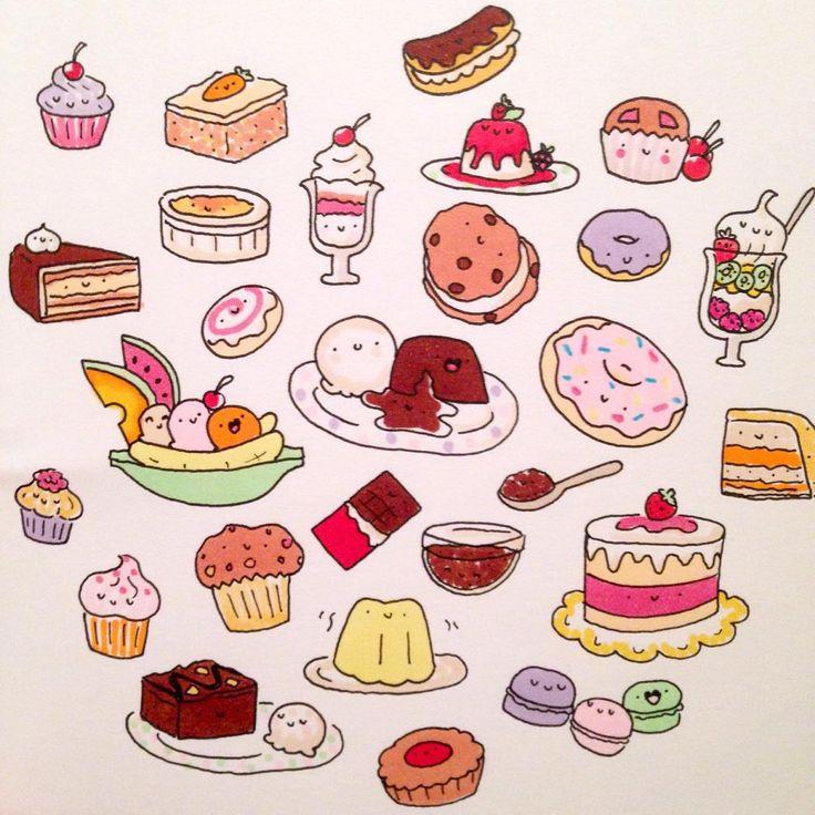 Нарисованные мини картинки еда