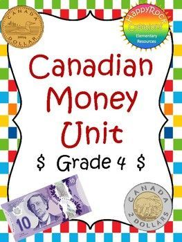This Canadian Money package includes 3 pages of lesson and activity ideas, 21 student worksheet pages and over 30 pages of math center games/activities covering the grade 4 Ontario curriculum expectations for money. Focus areas include naming coins and bills, representing money amounts to $100, counting money amounts to $100, adding and subtracting money amounts to $100.