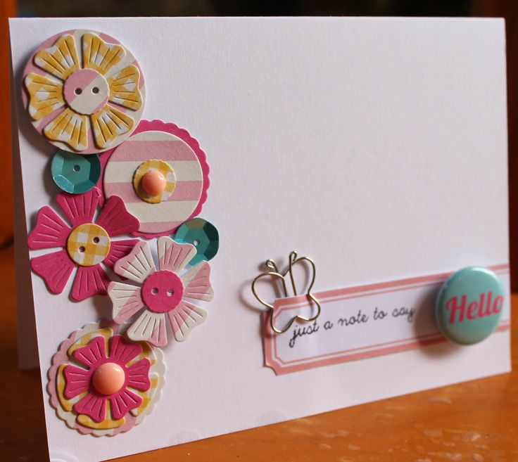 Hello card by Kate van der Pol for Polly! Scrap Kits Sketch Duet, and using December 2013 Rainbow Lollipop kit