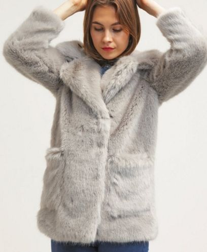 Topshop CLAIRE Krótki płaszcz futerko szare lightgrey