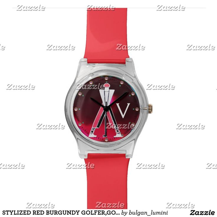 STYLIZED RED BURGUNDY GOLFER,GOLF PLAYER MONOGRAM WATCHES  #golf #golfplayer #golfer #sport #fashion #sports #golfers