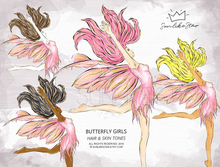 Butterfly Girl Clipart, fashion clipart, Hair Skin Tones, african american girl, latina, planner clipart, dark skinned, blonde, brunette 090 by SunlikeStar on Etsy