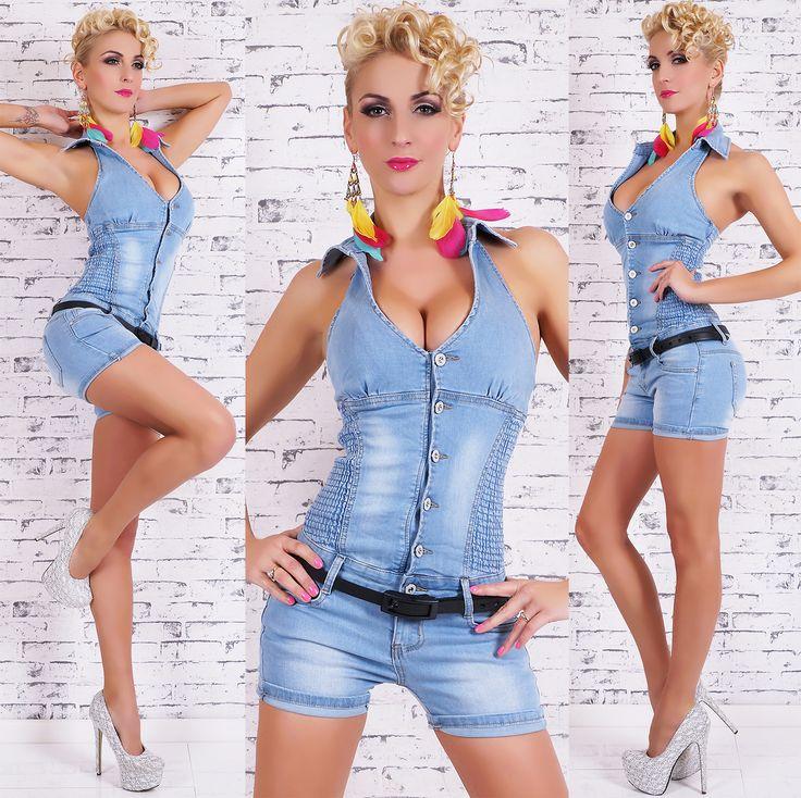 sexy damen hotpants jeans overall kurz mit g rtel hellblau overalls jumpsuits pinterest. Black Bedroom Furniture Sets. Home Design Ideas
