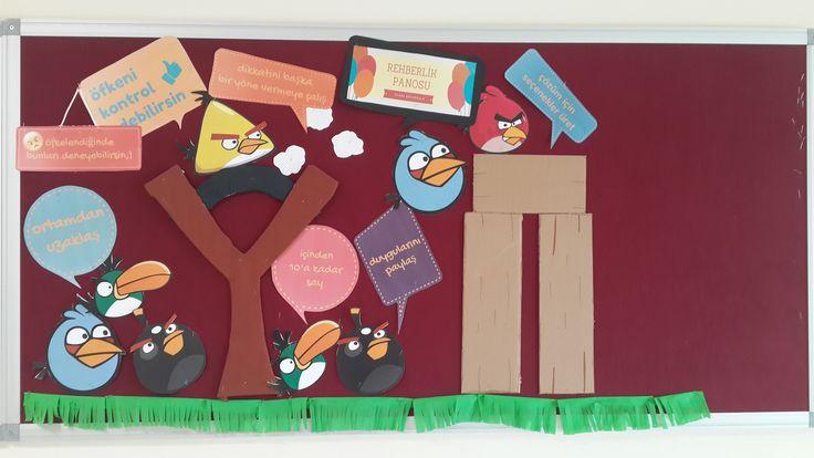 Öfke yönetimi okul rehberlik panosu School counselling bulletin board about anger management angry birds