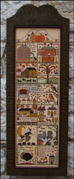 CARRIAGE HOUSE SAMPLINGS: Autumn At Hawk Run Hollow - Primitive Cross Stitch Sampler Pattern, Chart, Leaflet