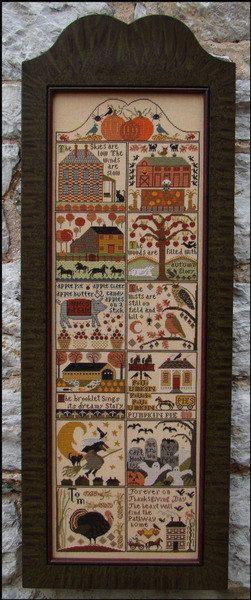 CARRIAGE HOUSE SAMPLINGS: Autumn At Hawk Run Hollow - Primitive Cross Stitch Sampler Pattern, Chart, Leaflet
