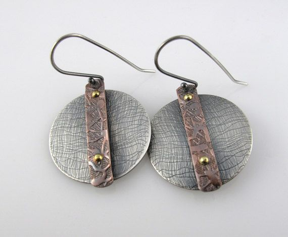 Sterling and Copper Earrings Mixed Metal Patina Metalwork Jewelry